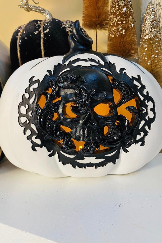 "7.75"" White and Black LED Pumpkin"