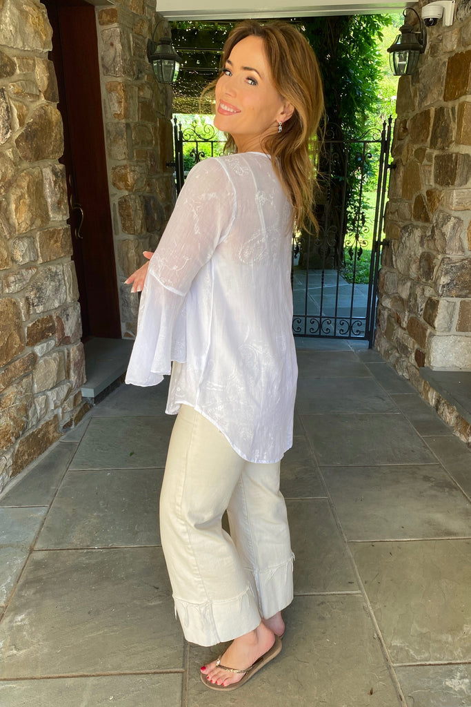 White Tunic with Beaded V-Neck