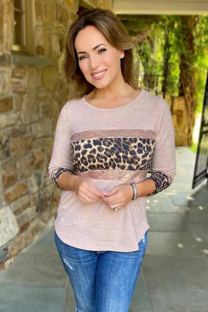 Blush Top with Sequins and Leopard