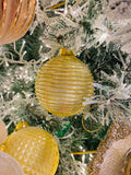 Large Dimensional Gold and Pearl Glass Ornaments