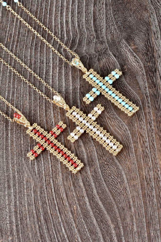 Florentine Beaded Cross Pendant