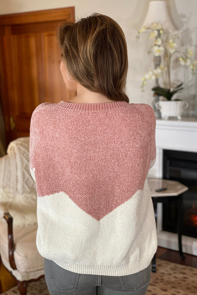 Pink and White Feminine Sweater with Pearl and Bead Trim