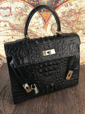 Black Monaco Croco Bag