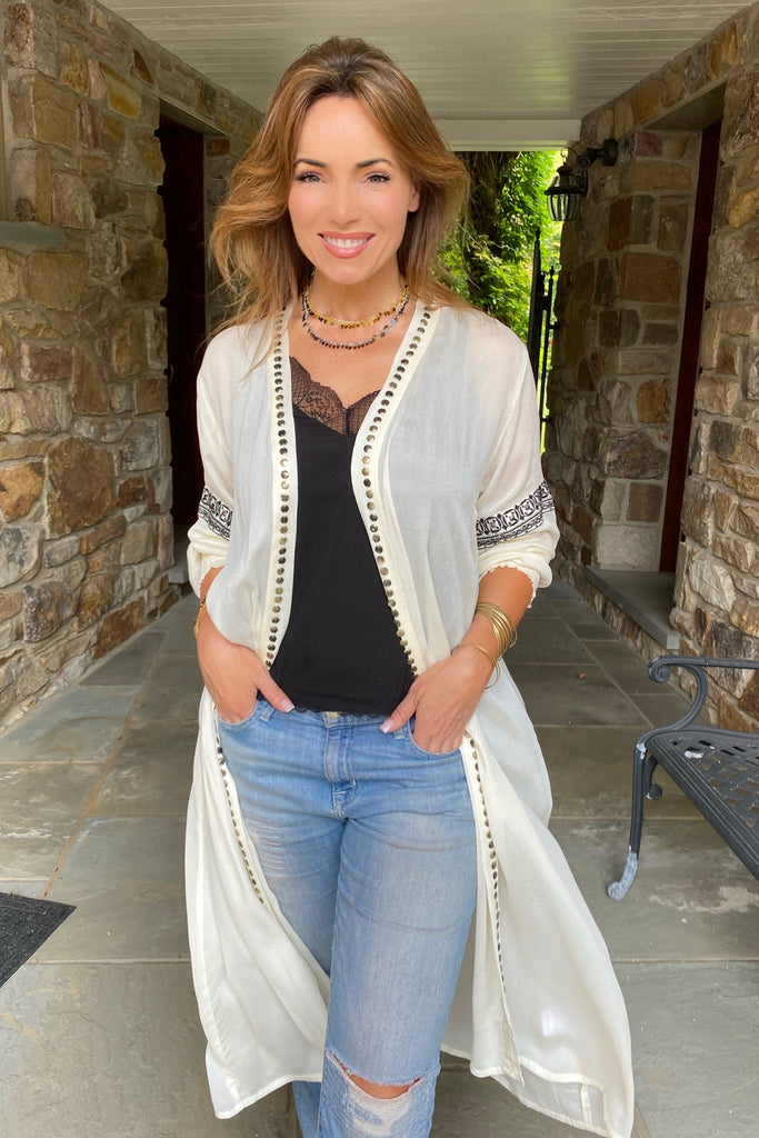 Black and White Studded and Embroidered Kimono