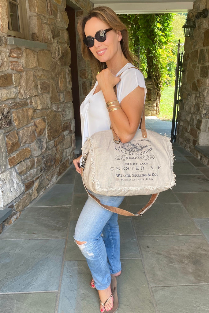 Khaki Canvas and Leather Weekender Bag