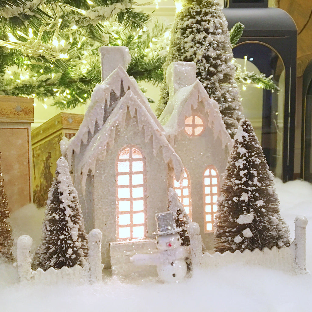 Lighted White Christmas Cottage
