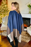 Color Block Cape w/Fringe