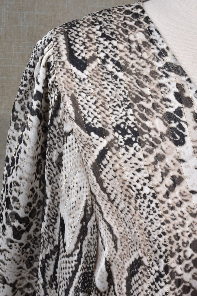 Black and Ivory Python Print Top