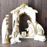 Ivory and Gold 10 Piece Nativity
