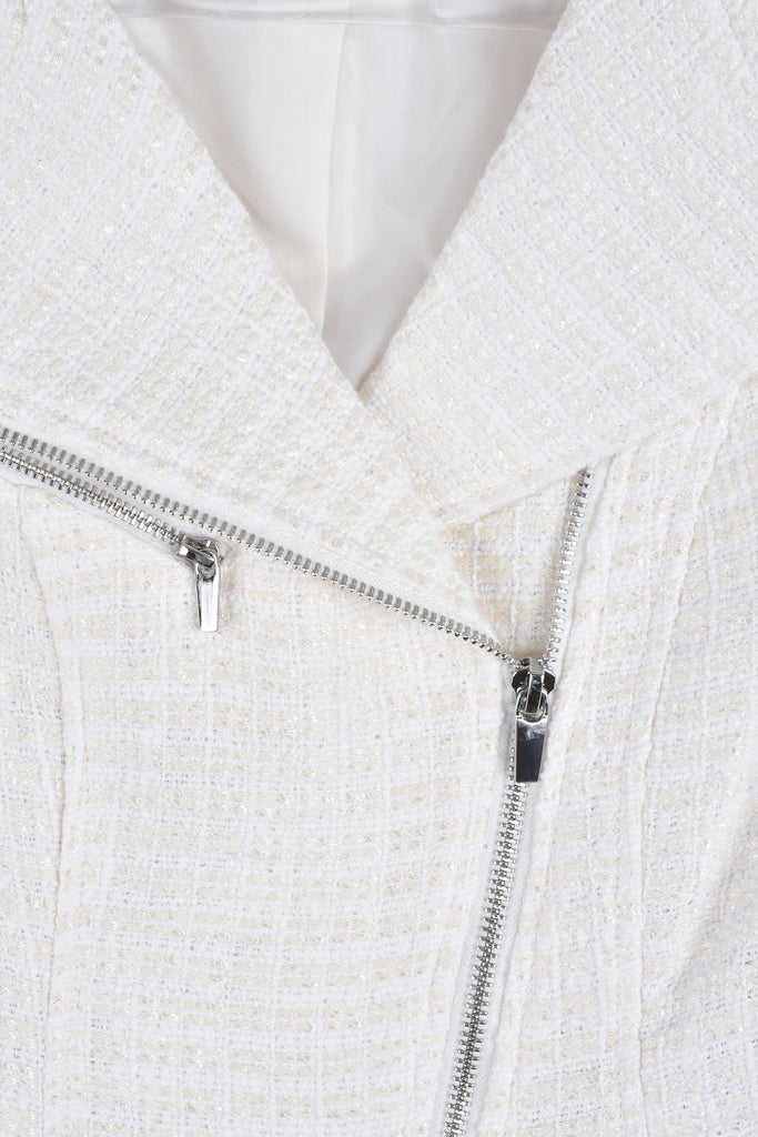 White Tweed Jacket with Zip Details