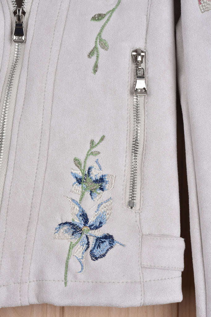Embroidered Flowers Faux Suede Jacket