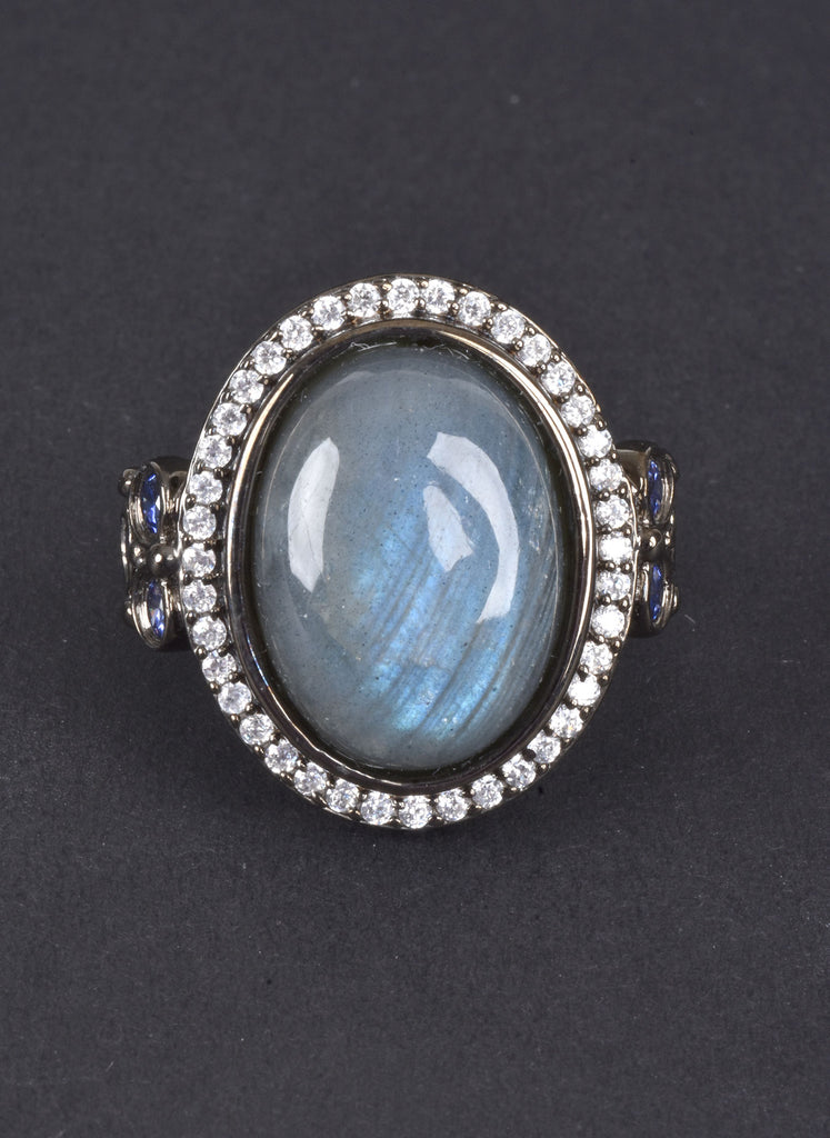 Bold Oval Labradorite Ring with Pave Halo