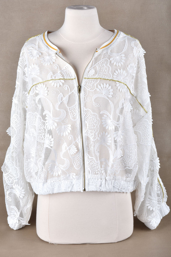 Mesh and Lace Jacket with Gold Trim