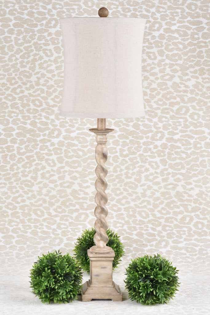 Spindle Style Lamp with Linen Shade