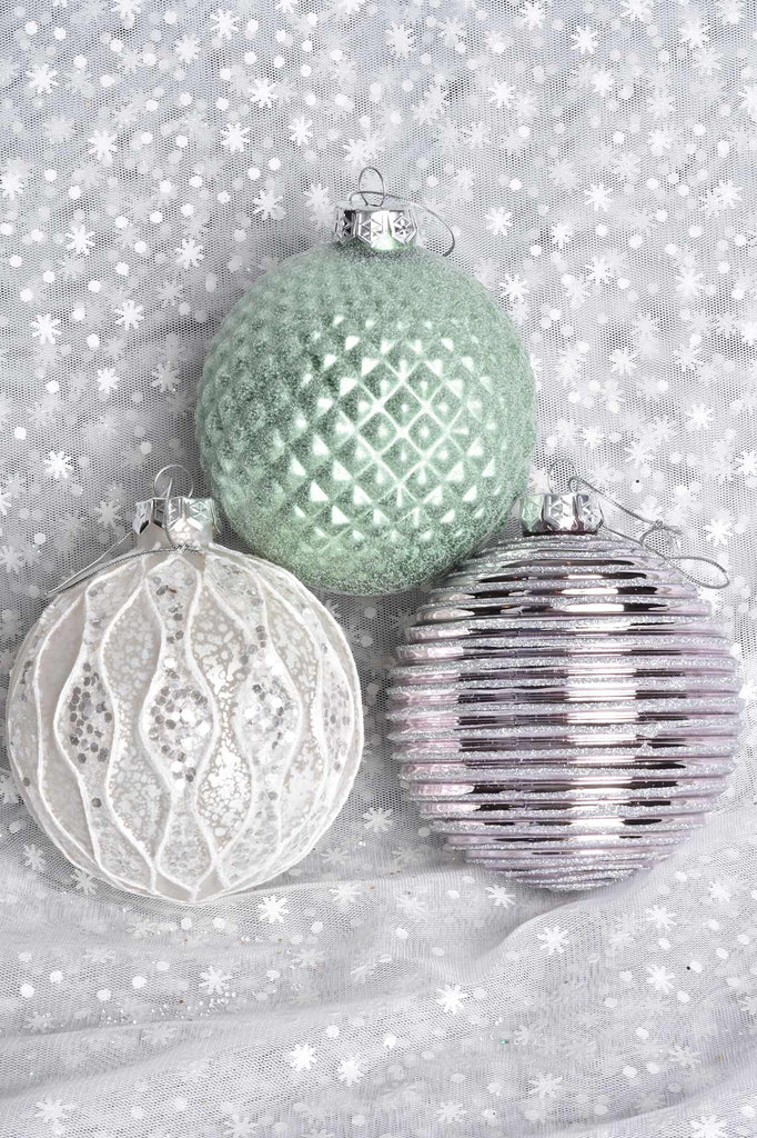 Large Dimensional Green, Lilac, and White Glass Ornaments