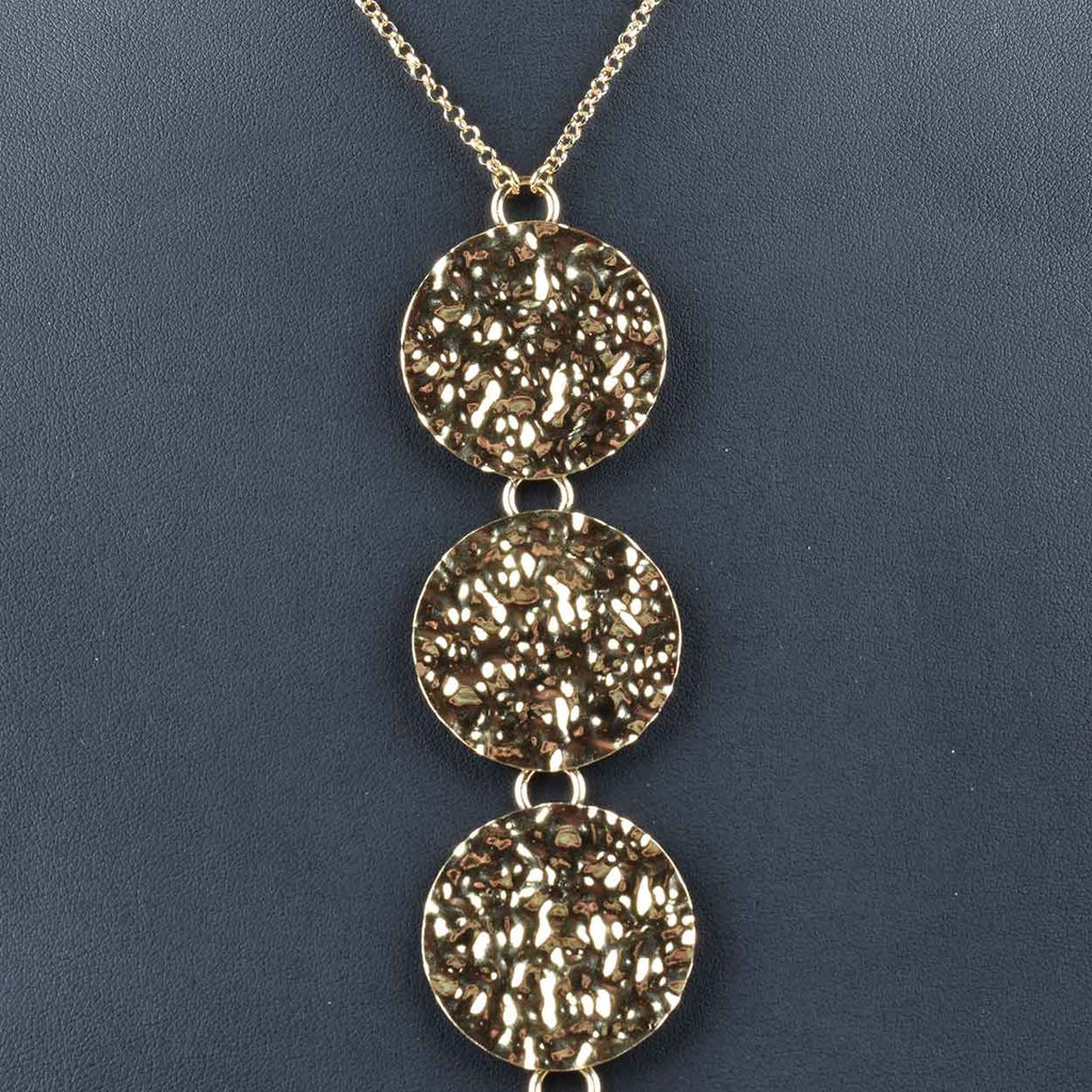 Italian Large Hammered And Polished Circle Drop Necklace