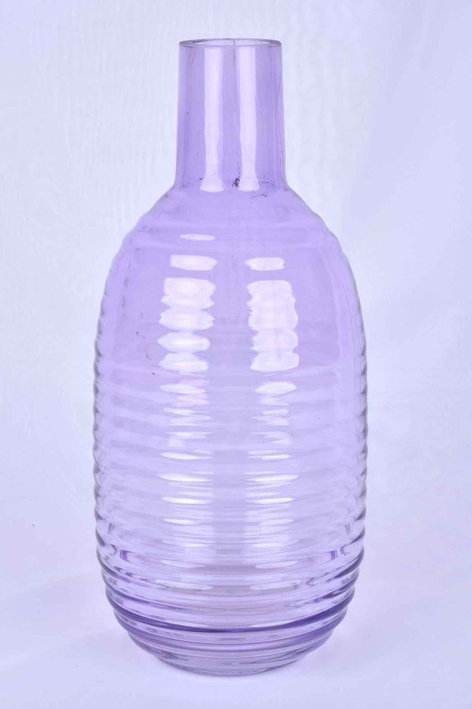 Large Soft Lilac Ribbed Glass Vase