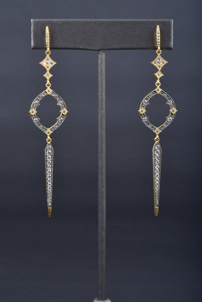 Couture Inspired Handmade Marquise and Elongated Bar Earrings
