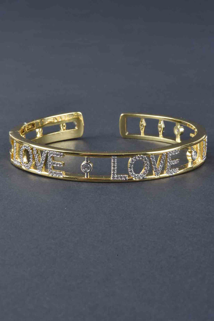 Couture Inspired Pave Love Cuff Bracelet