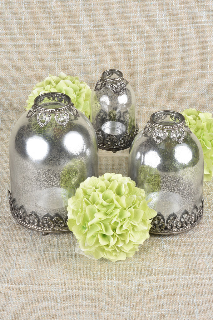 Set of 3 Mercury Glass Candle Holders