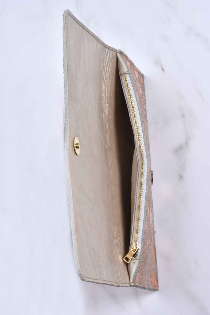 Metallic Haircalf Leather Envelope Bag