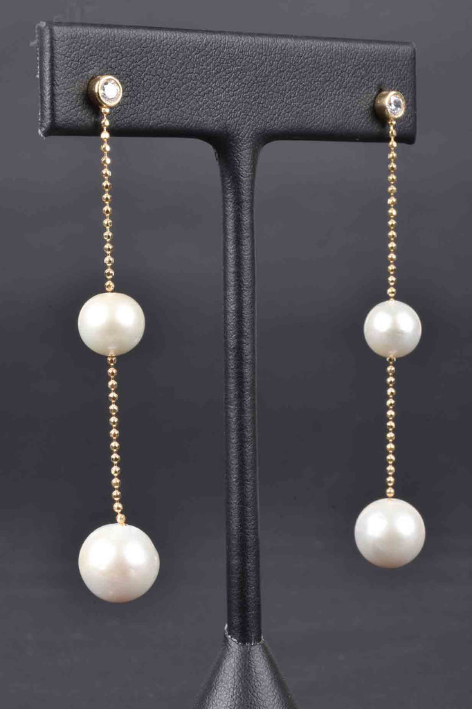 Italian Ming Pearl Linear Earrings