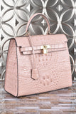 The Monaco Croco Bag in Blush