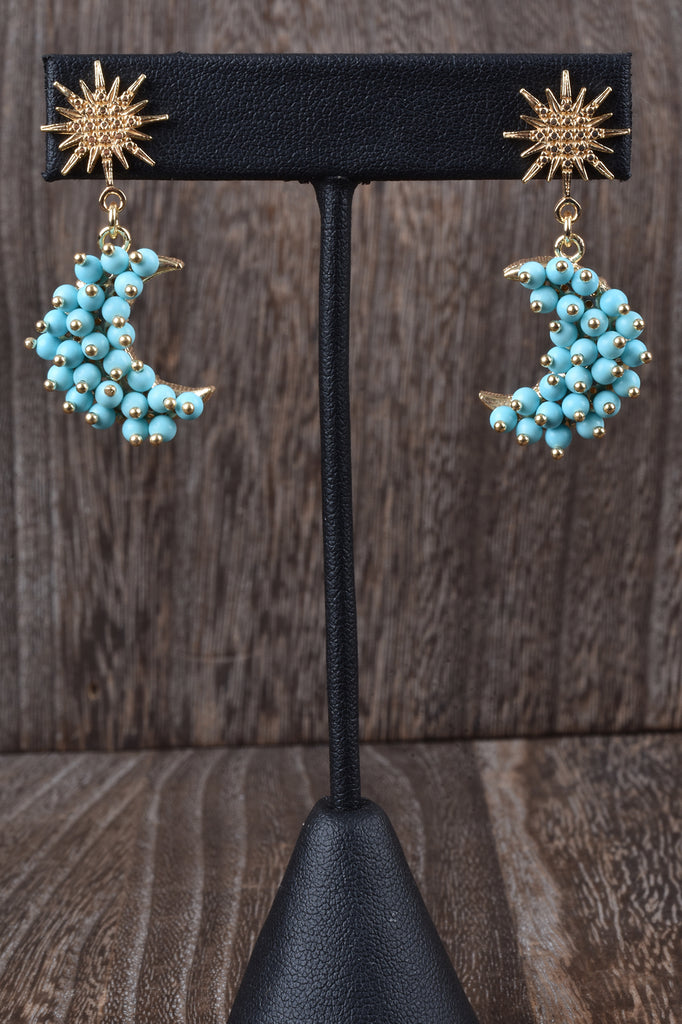 Florentine Gemstone Moon and Star Earrings