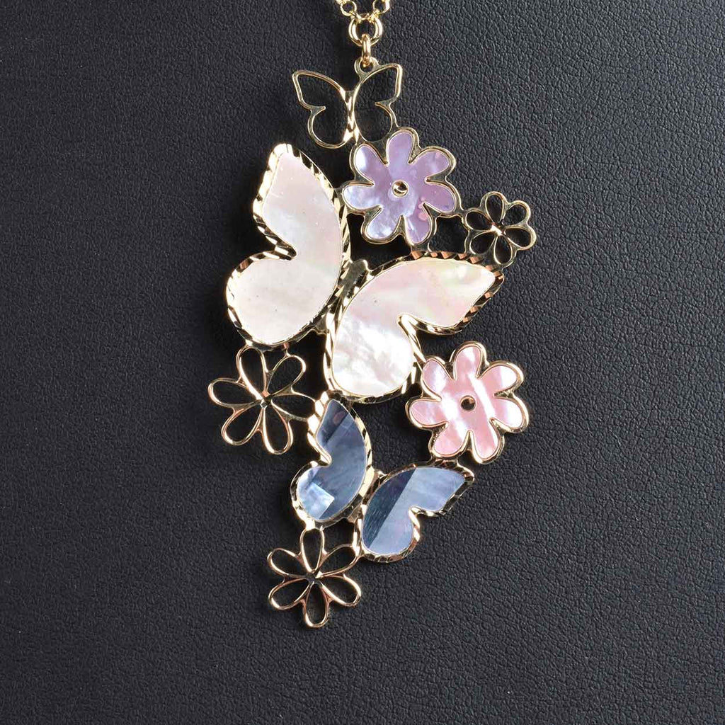 Italian Mother of Pearl Butterfly Necklace