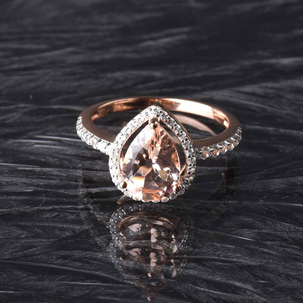 Pear Shape Morganite and Halo White Zircon Ring