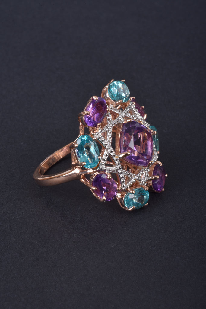 Apatite and Amethyst Scattered Band Ring