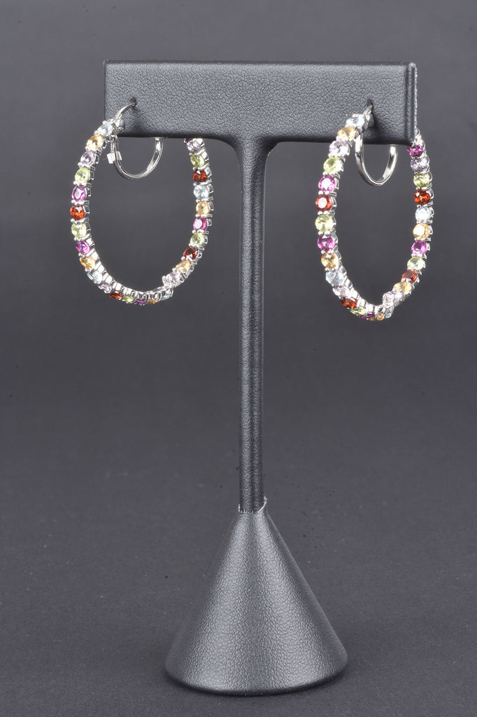 Colors of Gemstone Inside Outside Hoop Earrings