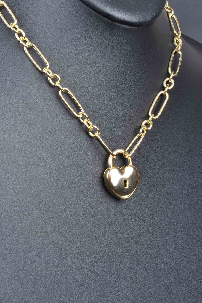 Italian Status Heart Clasp Center Necklace