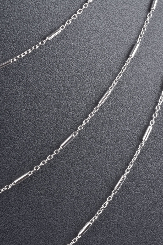 Italian Solid Diamond Cut Bar Station Necklace