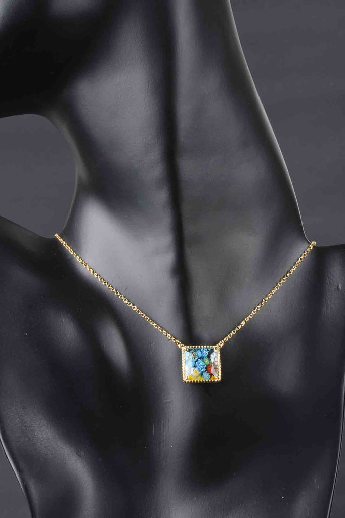 Italian Handcrafted Murano Glass Square Design Necklace