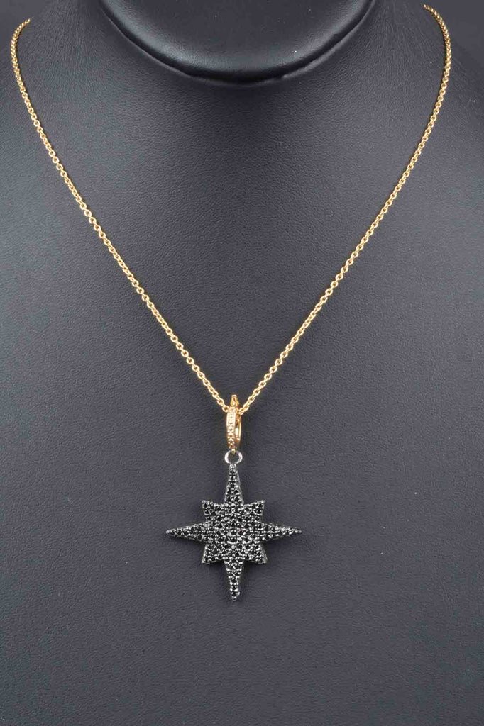 Pave Black Spinel North Star Enhancer with Necklace