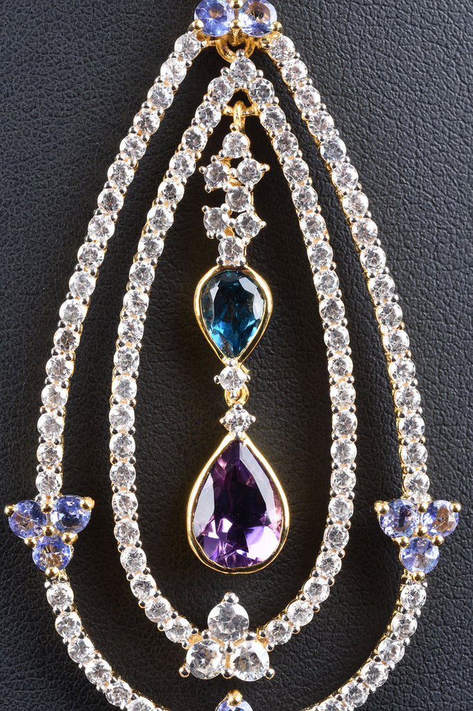 Multi-Gemstone Double Teardrop Pendant
