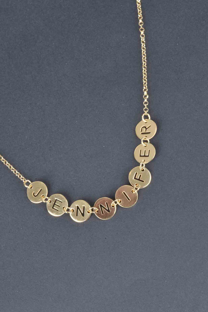 Italian Personalized Round Disc Name Necklace