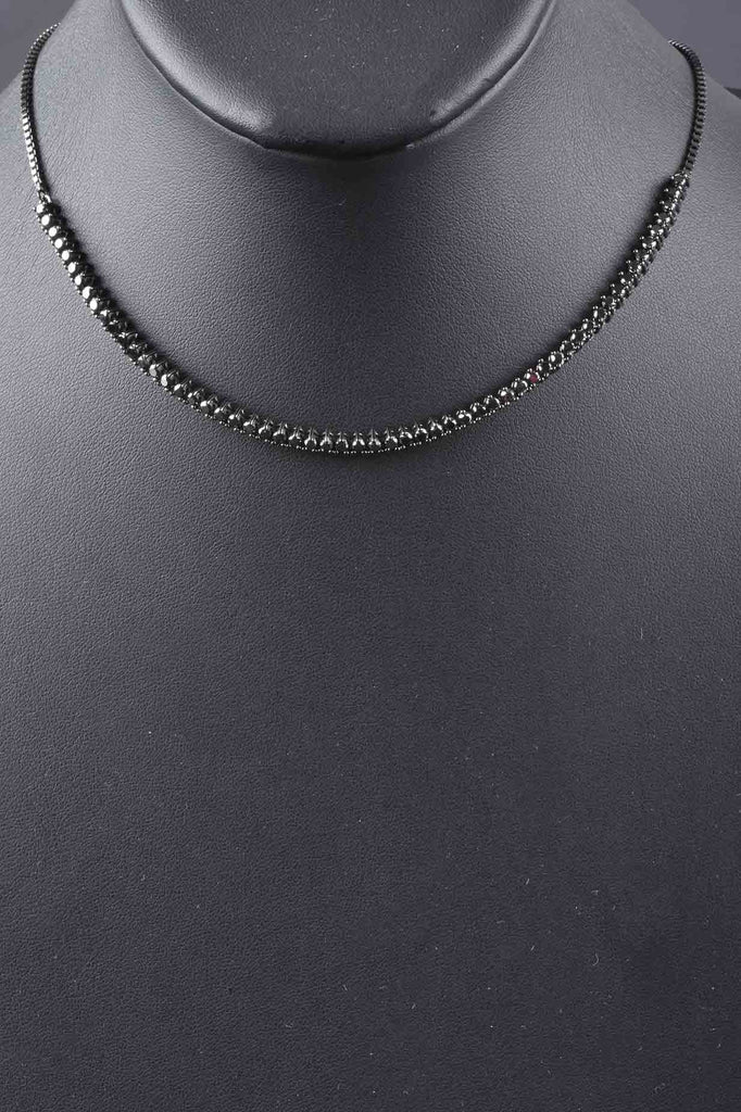 Adjustable Black Diamond Necklace With Magnetic Clasp