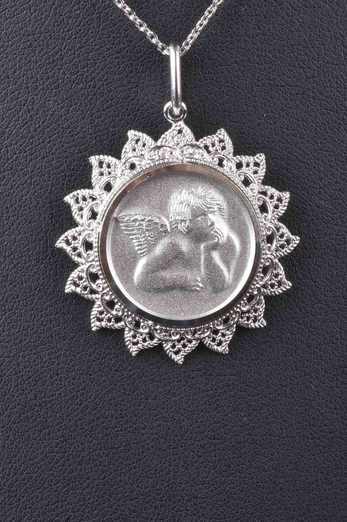 Italian Angel Pendant with Filigree Border