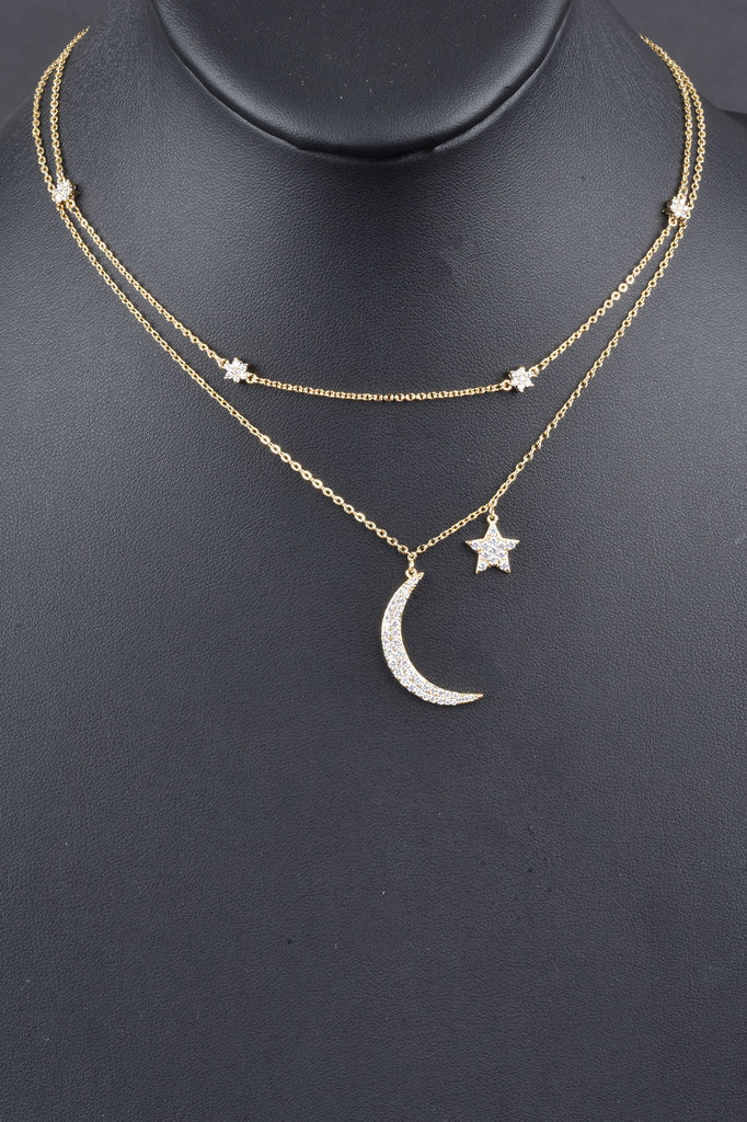 Handmade Double Layered Pave Moon and Star Necklace