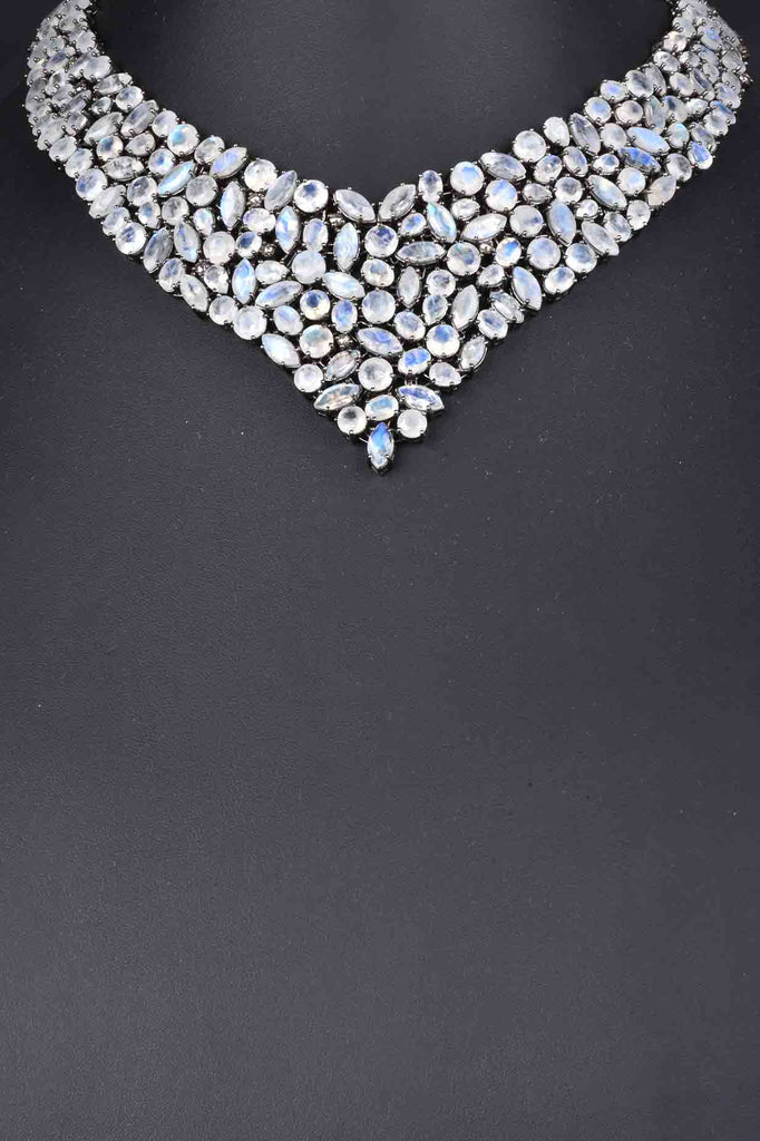 Handmade Rainbow Moonstone and Champagne Diamond Necklace