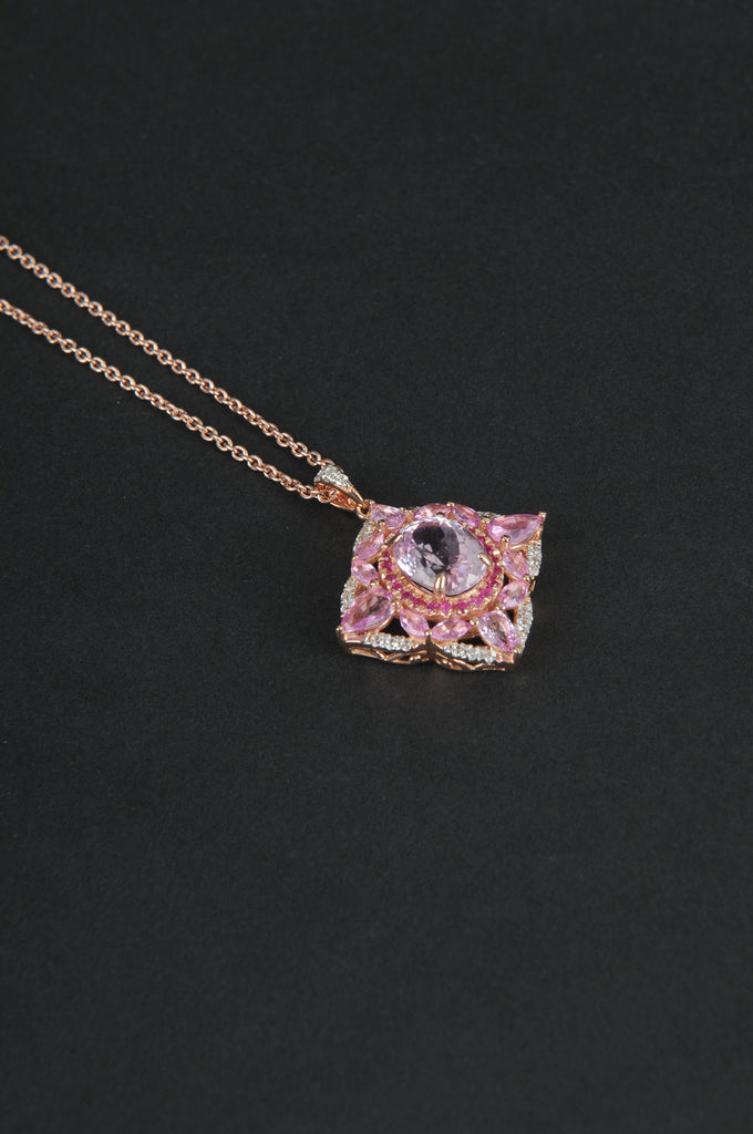 Colors of Pink Gemstones Marquise Pendant with Chain