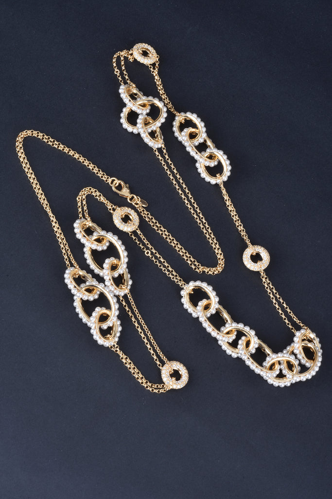 Florentine Pearl Rolo Station Necklace
