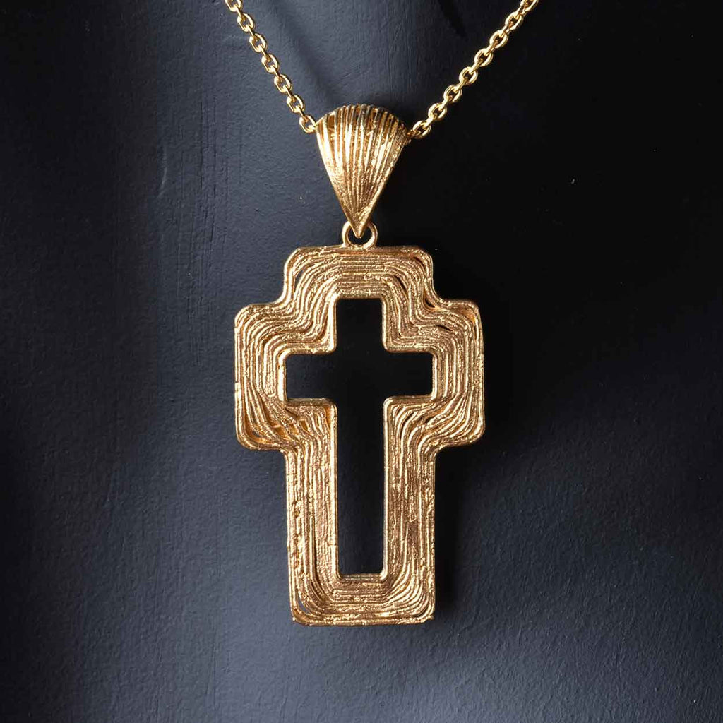 "Satin Organic Cross Pendant with 20"" Chain"