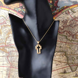 Satin Organic Cross Pendant with 20