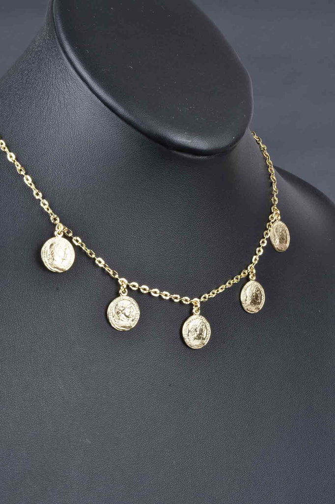 Italian Dangling Coin Charm Necklace