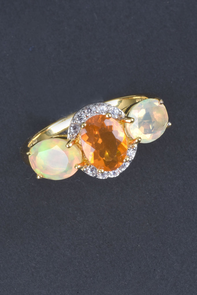 Exotic Fire Opal and Ethiopian Opal Ring