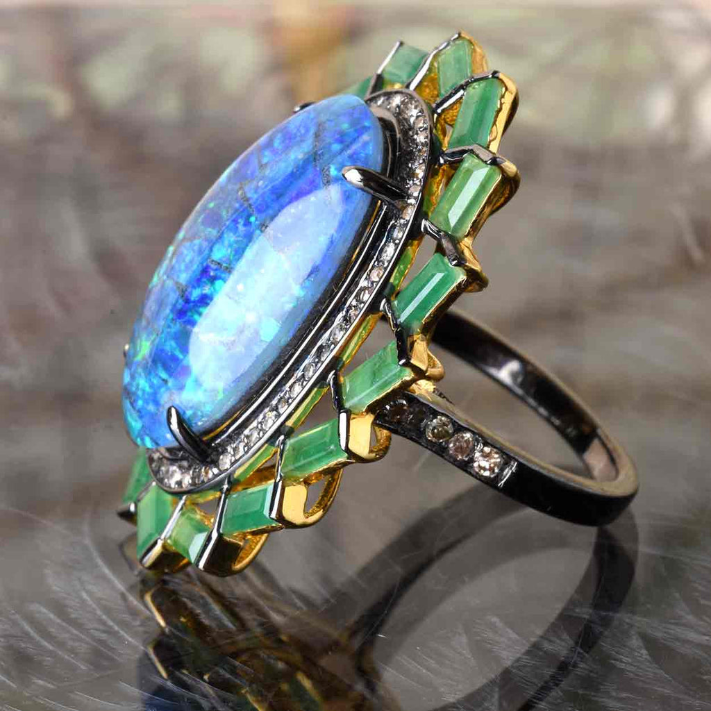 Opal Triplet, Emerald, and Diamond Ring