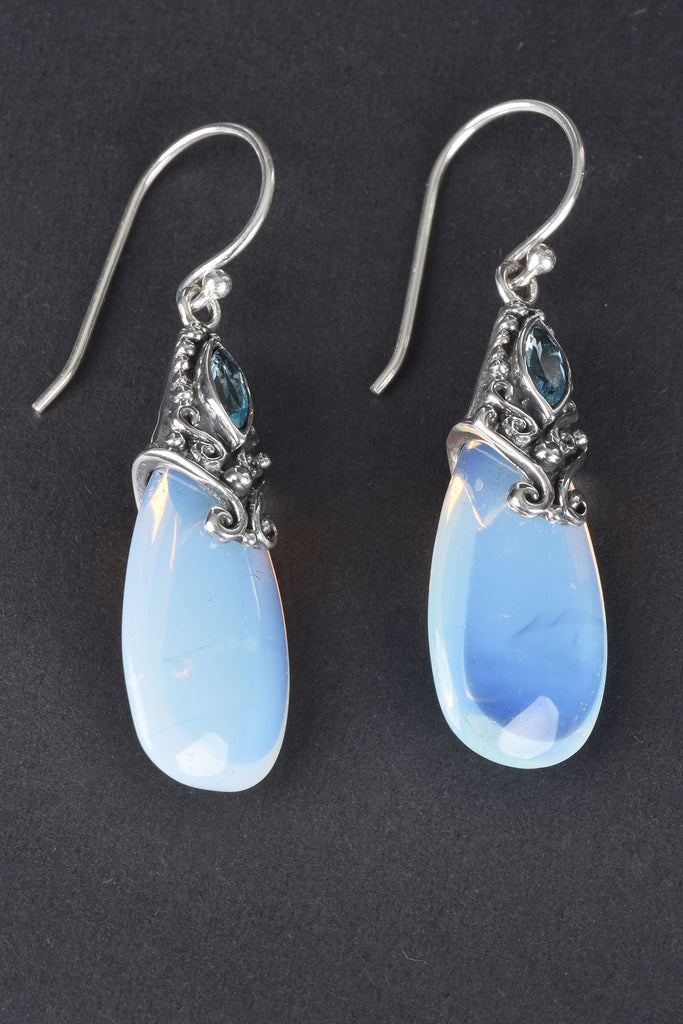 Handmade Bali Opalite and Blue Topaz Gemstone Earrings